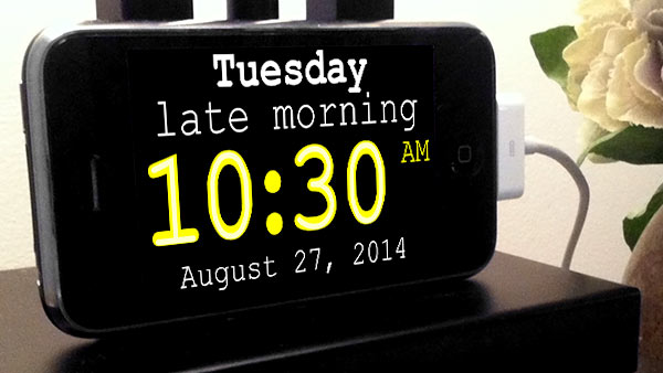 iPhone web app: yellow large-print digital clock (10:30AM with description 'late morning')