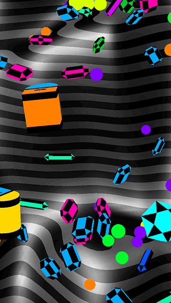 Game screenshot: colorful gems