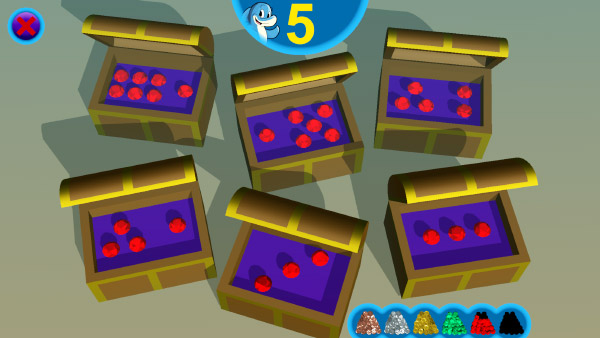 Game screenshot: 6 treasure chests